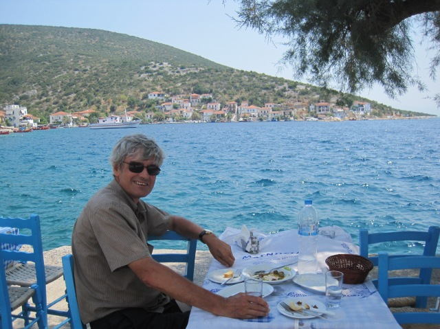 Eating a fish by the sea at a taverna in Ayia Kyriaki: my idea of Greek heaven