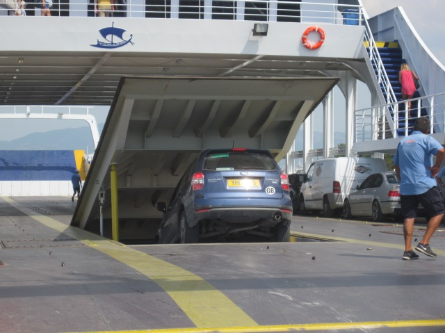 Driving on to the Thassos ferry