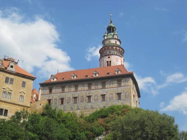 Part of the castle at Český Krumlov, from the other side of the Vltava