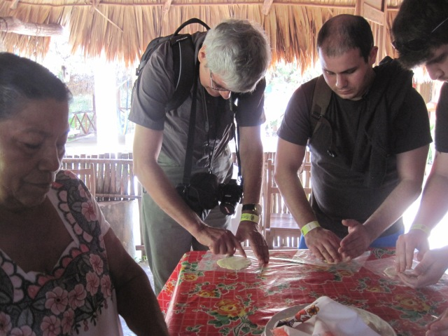 Someone's learning to cook: make your own tortilla, Chacchoben village, Mexico