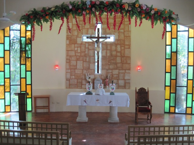 Inside the church at El Cedral, Cozumel