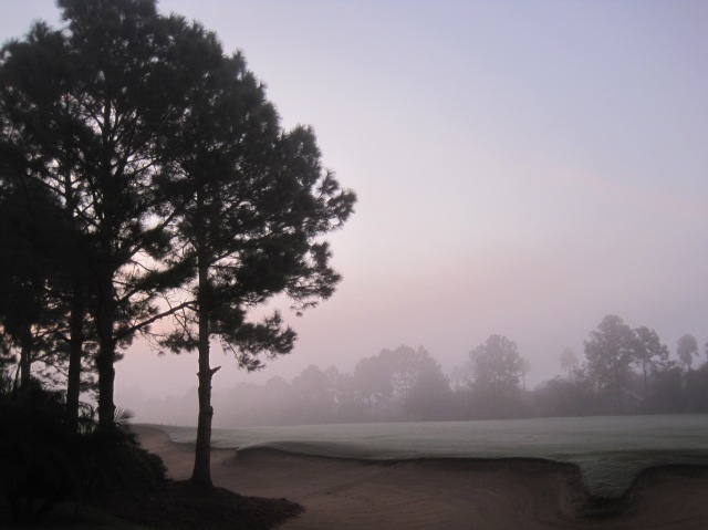 A misty, dewy morning on the golf course at the back of Florida Breeze Villa, our Florida home.