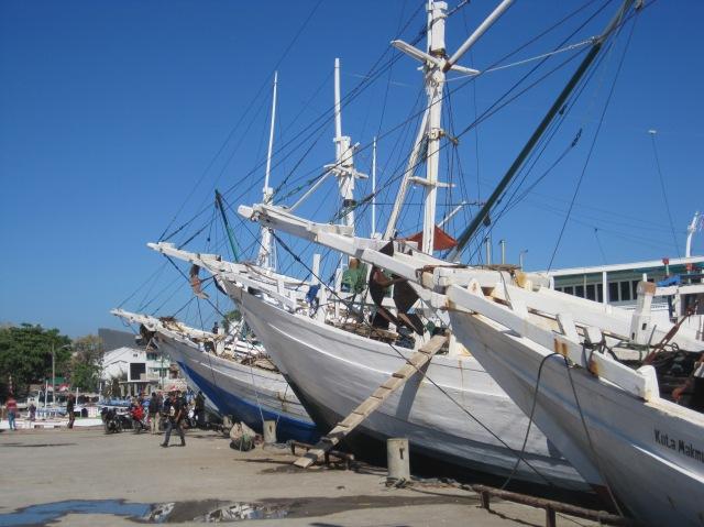 Sailing ships at the old port, Makassar
