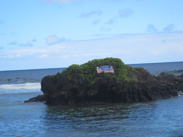 Election poster on an island rock, American Samoa