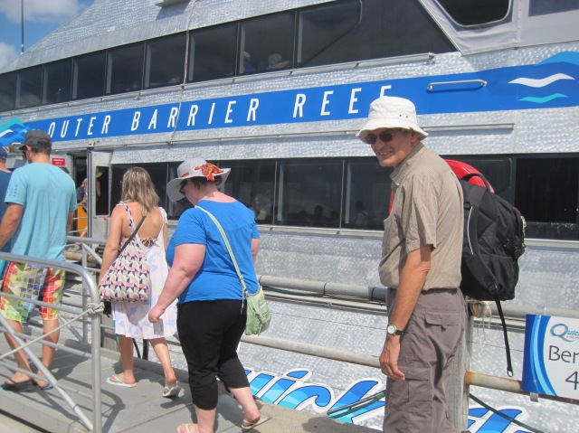 Getting on the Quicksilver catamaran