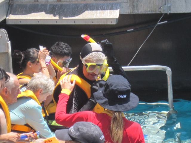 Getting ready for snorkelling