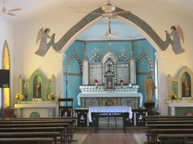 Inside the church at Beagle Bay