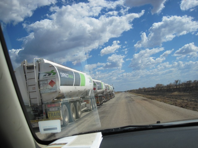 Over taking a road train