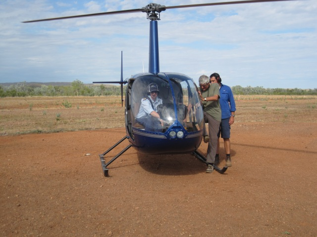 Getting into the helicopter at Bungle Bungles
