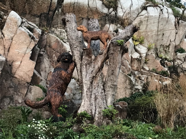 Cliffside garden art at Kippford